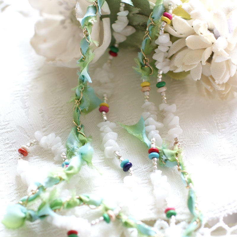 Opal×magnesium×SilkRibbon Necklace