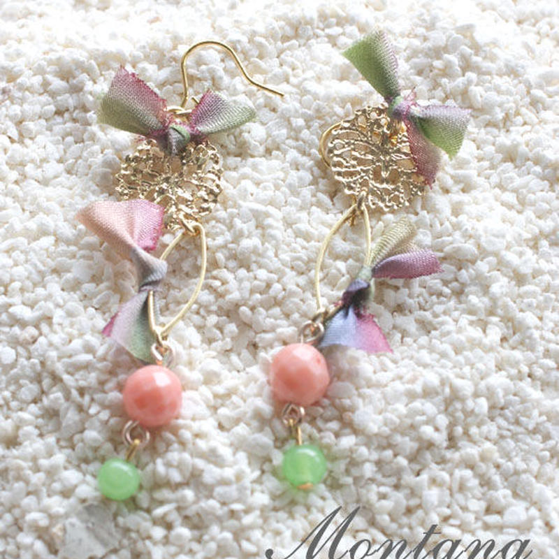 Coral×Thirdnix pierced earrings