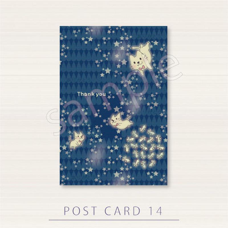 PC14 月の光が集まって現れるねこ達のポストカード