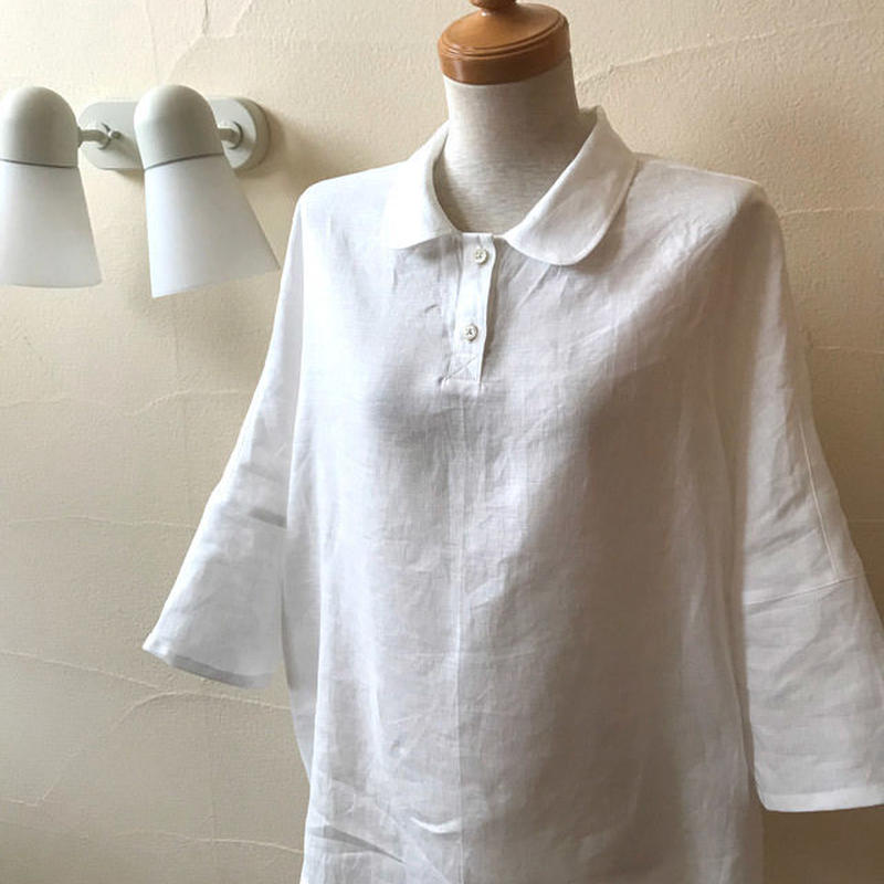丸襟がかわいい リネンチュニック 白、黒、リネンカラーの3色からお選びいただけます