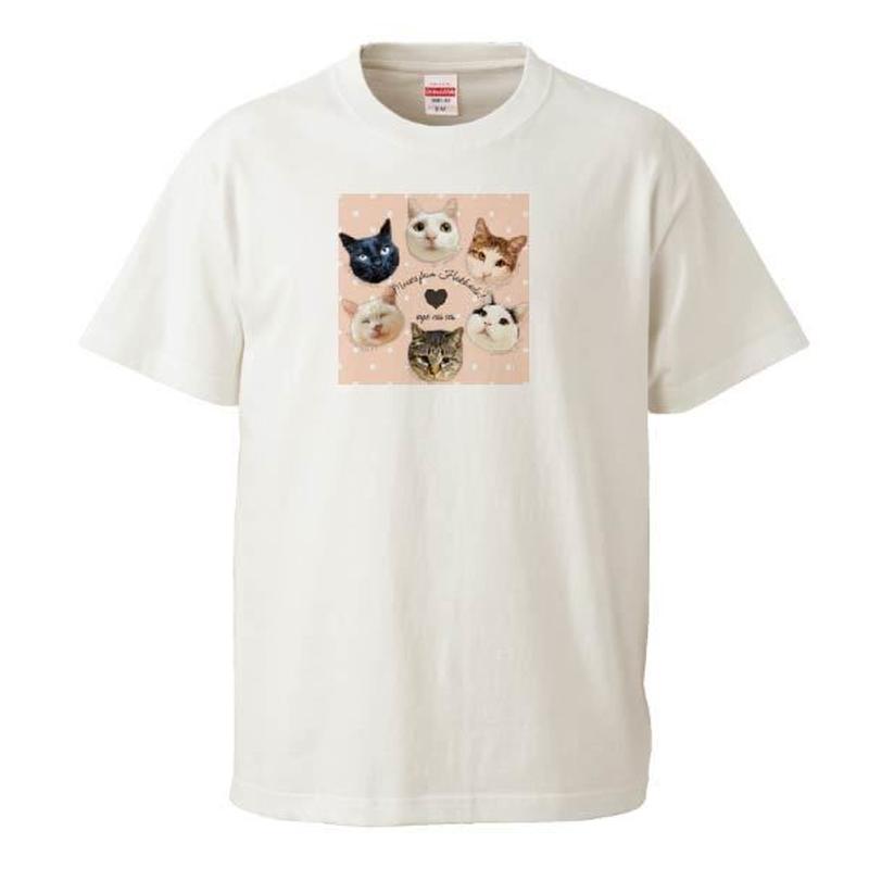 保護団体支援デザイン ニャンコフェイス Tシャツ