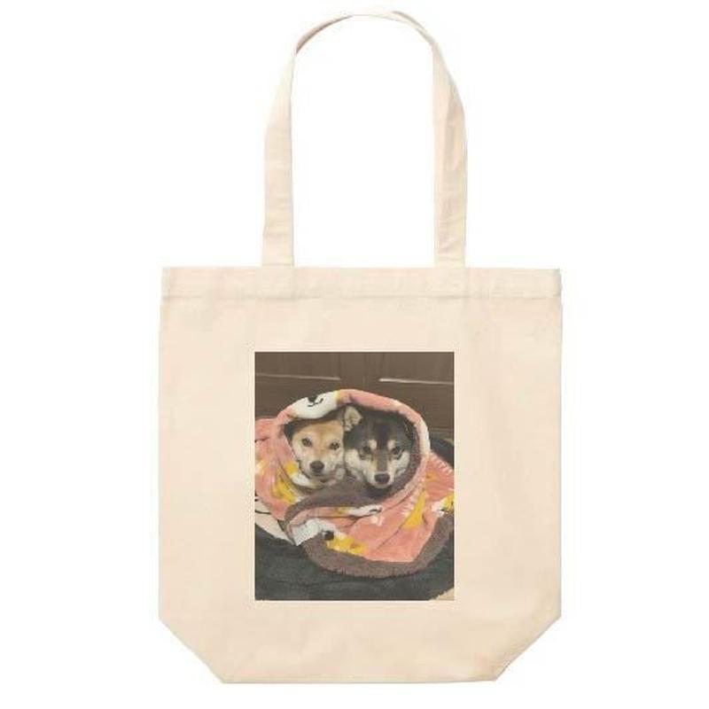 毛布に包まる豆柴なつふゆちゃん トートバッグ