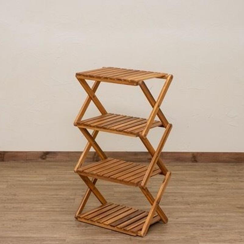アカシア  木製 折りたたみラック  4段