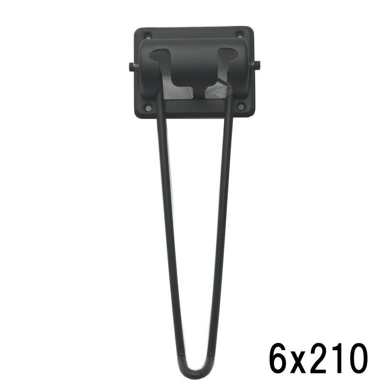 ブラック丸棒脚 6x210
