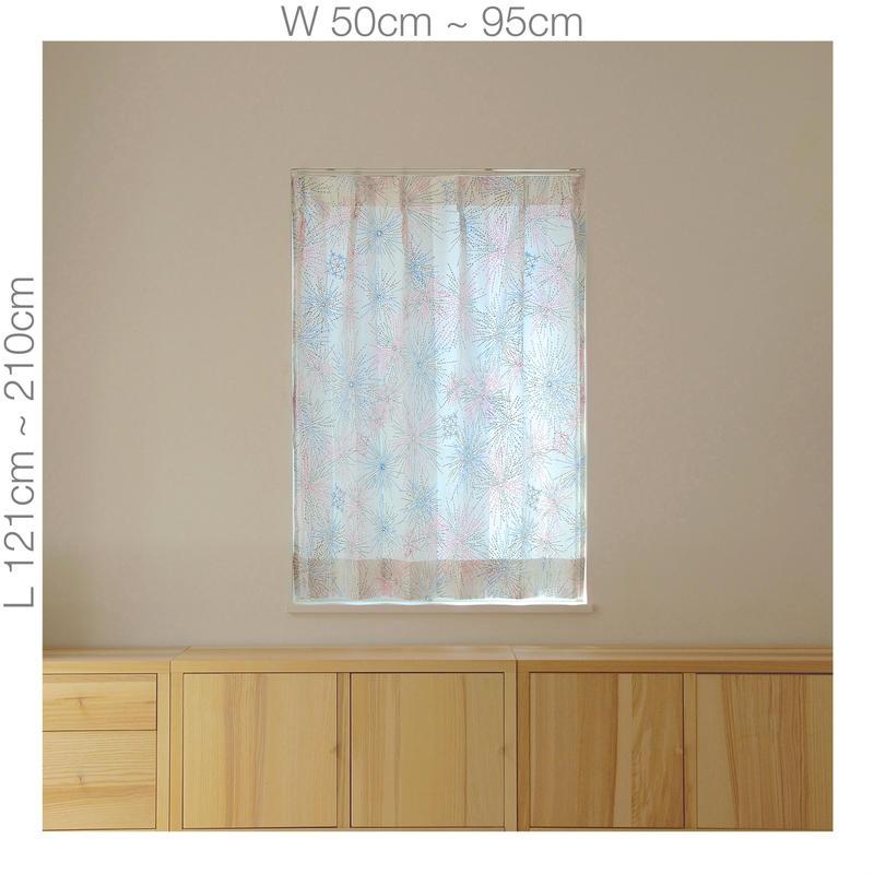 """【ORDER CURTAINS】オーダーカーテン:""""花火""""ピンク 巾 50cm~ 95cm ・ 丈 121cm~210cm(1枚)"""