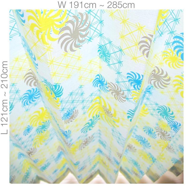 """【ORDER CURTAINS】オーダーカーテン(遮光裏地付):""""風車""""グリーン 巾 191cm~285cm ・丈 121cm~210cm(2枚セット)"""