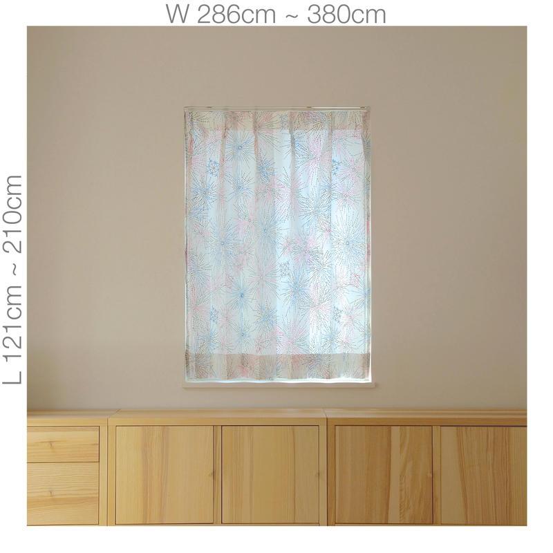 """【ORDER CURTAINS】オーダーカーテン:""""花火""""ピンク 巾 286cm~380cm ・ 丈 121cm~210cm(2枚セット)"""