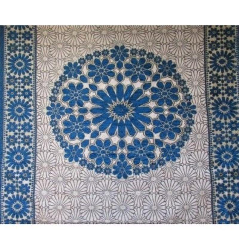 モロッコインテリア生地「モザイクパネル柄ブルー」60cm単位