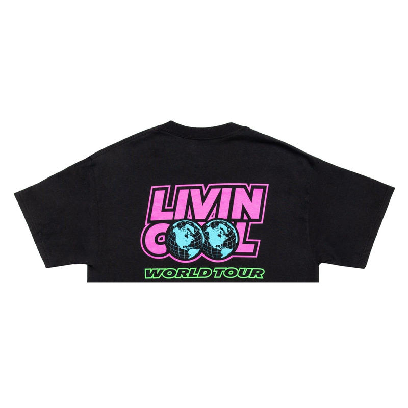 LIVINCOOL WORLD TOUR CROP TOP BLACK