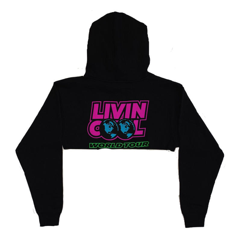 LIVINCOOL WORLD TOUR CROP HOODIE  BLACK