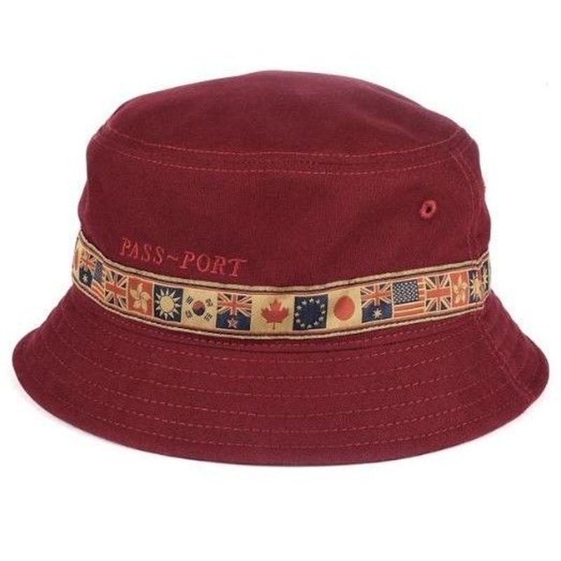 PASS~PORT INTER SOLID BUCKET HAT BURGUNDY