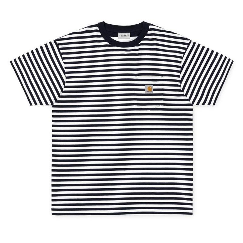 CARHARTT WIP  BARKLEY POCKET T-SHIRT DARK NAVY / WHITE