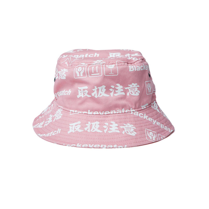 BLACK EYE PATCH HANDLE WITH CARE BUCKET HAT PINK