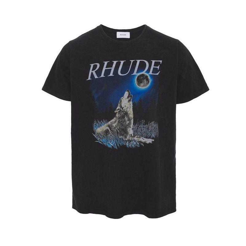 RHUDE    WOLF W / THE MOON TEE  BLACK