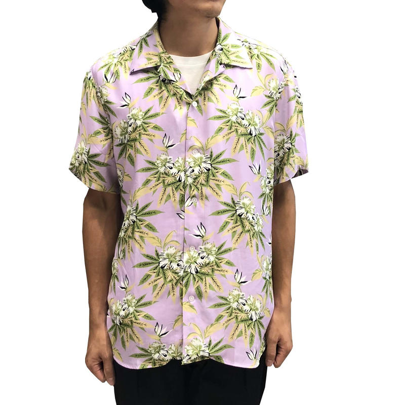 SSS WORLD CORP PREACHER HAWAIIAN SHIRT WEEDHIBISCUS PURPLE