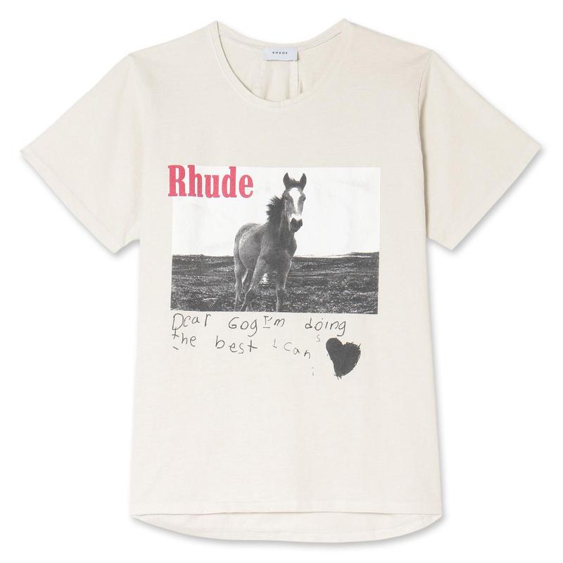 RHUDE    HORSE TEE WHITE