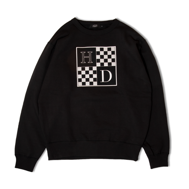 DIASPORA SKATEBOARDS CHECKERED CREW NECK BLACK