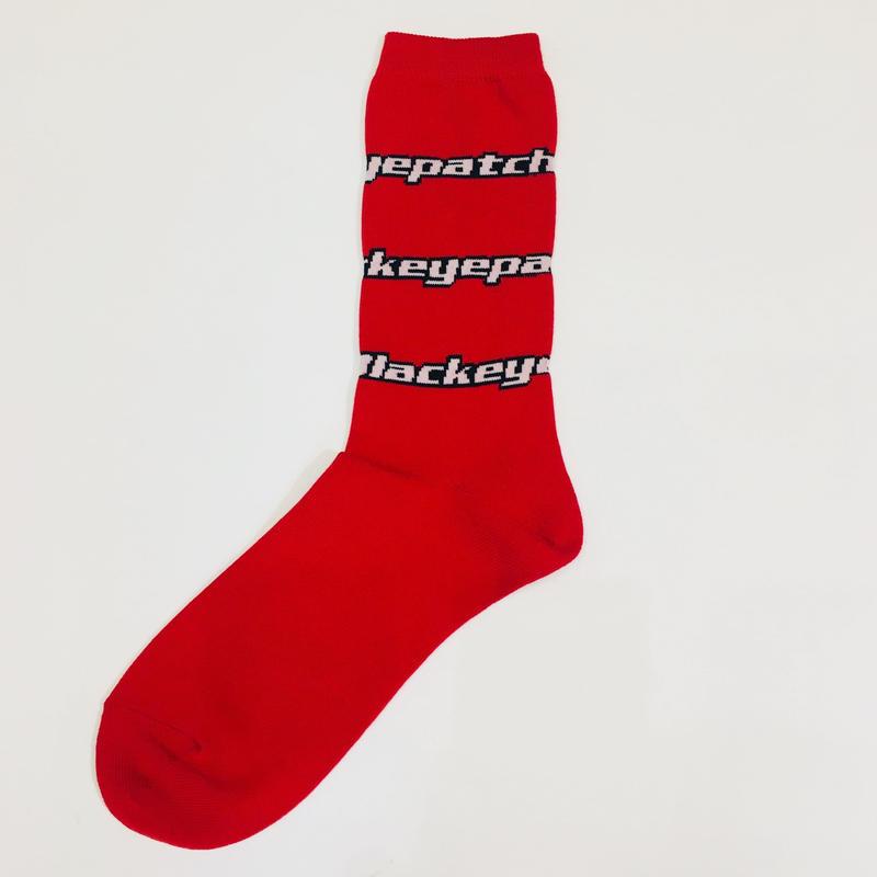 BLACK EYE PATCH   LOGO  SOCKS  RED