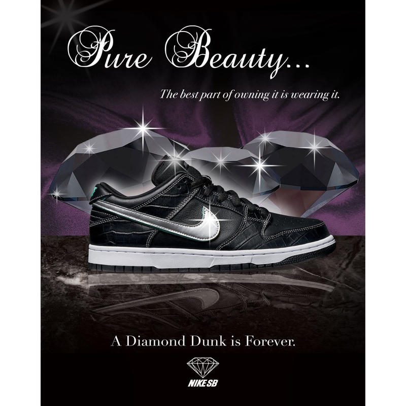 "NIKE SB DUNK LOW PRO OG QS ""DIAMOND SUPPLY"" BLACK"