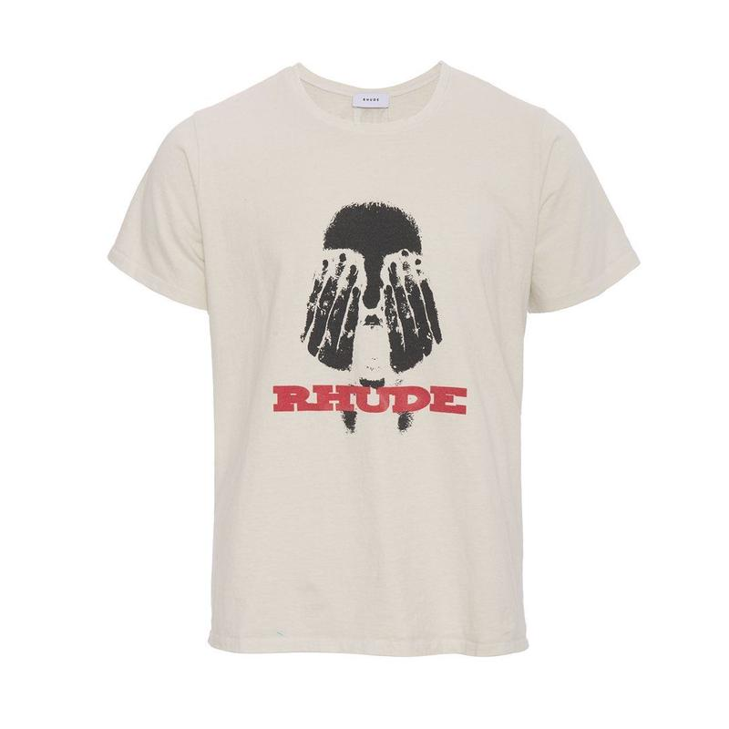 RHUDE    HANDS ON THE FACE TEE WHITE