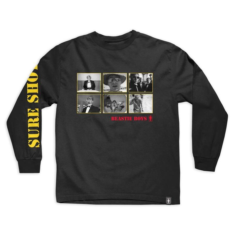 GIRL SKATEBOARDS  BEASTIE BOYS SURE SHOT PHOTO LS TEE BLACK
