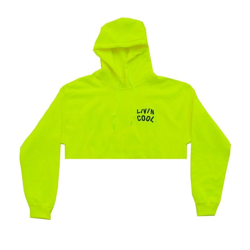 LIVINCOOL WAVY  CROP HOODIE SAFETY GREEN