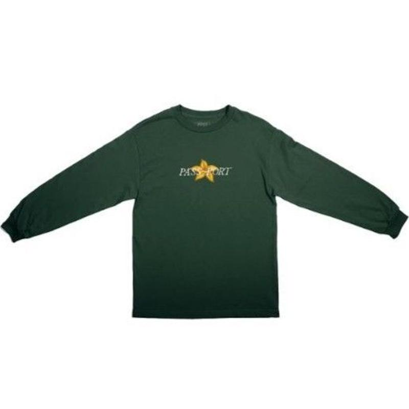 PASS~PORT DAFFODIL APPLIQUE LS TEE FOREST GREEN