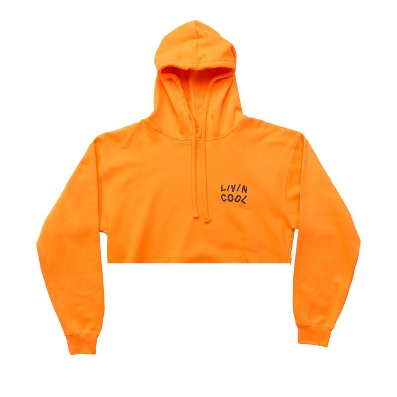 LIVINCOOL WAVY  CROP HOODIE ORANGE