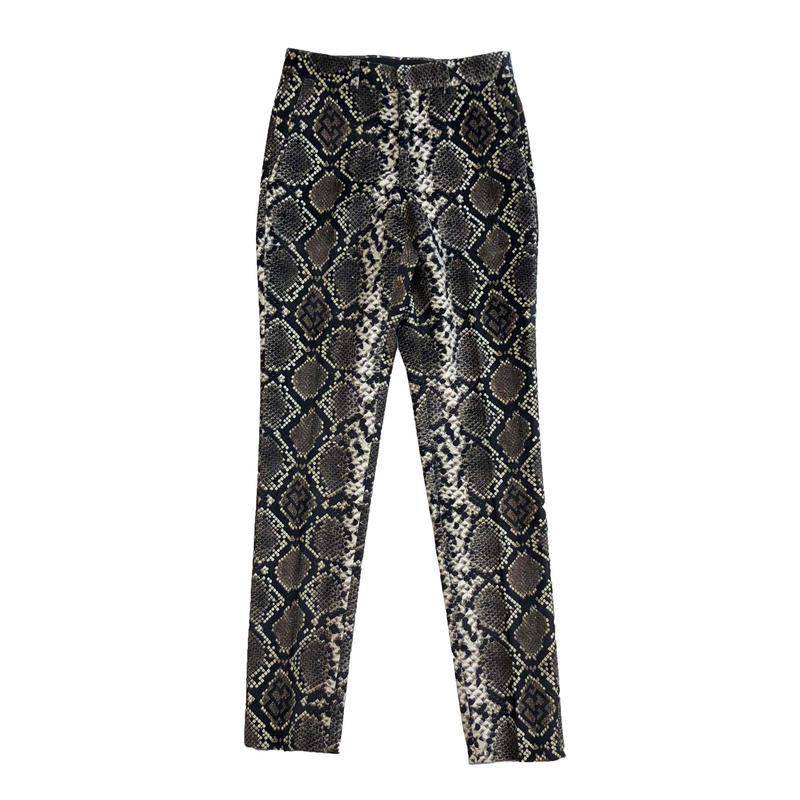 SSS WORLD CORP SNAKE PRINT TUXED SUIT STRAIGHT PANTS