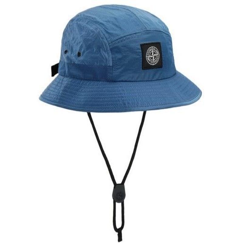 STONE ISLAND NYLON METAL RIPSTOP 5PANEL HAT PERIWINKLE BLUE