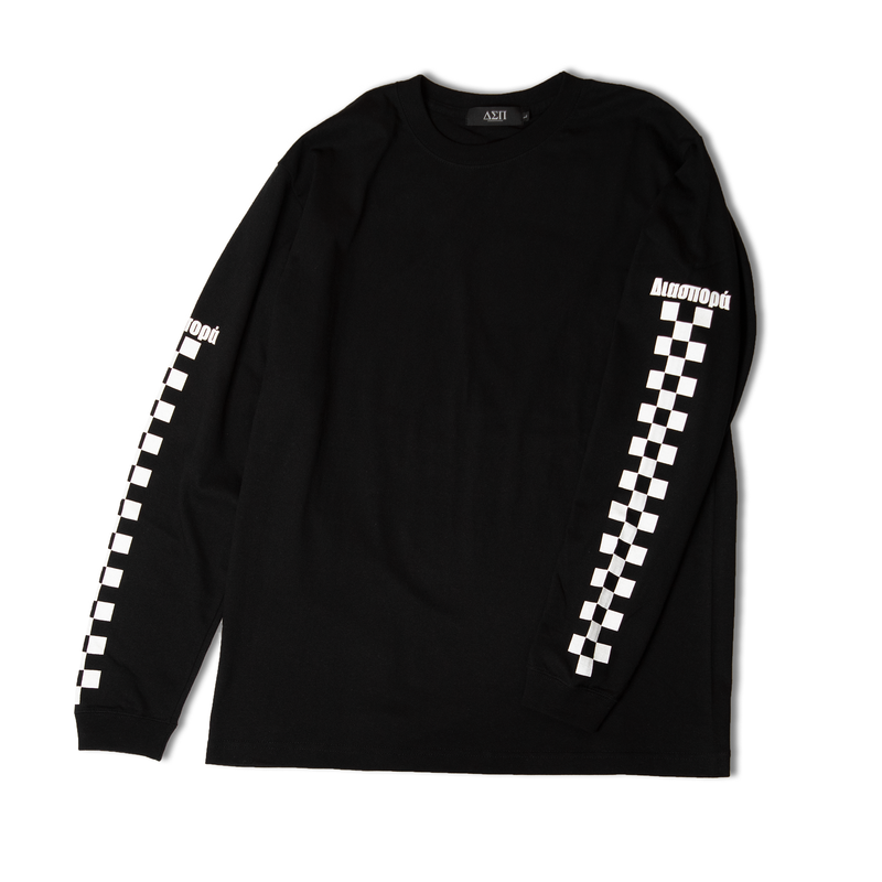 DIASPORA SKATEBOARDS CHECKERED L/S TEE BLACK