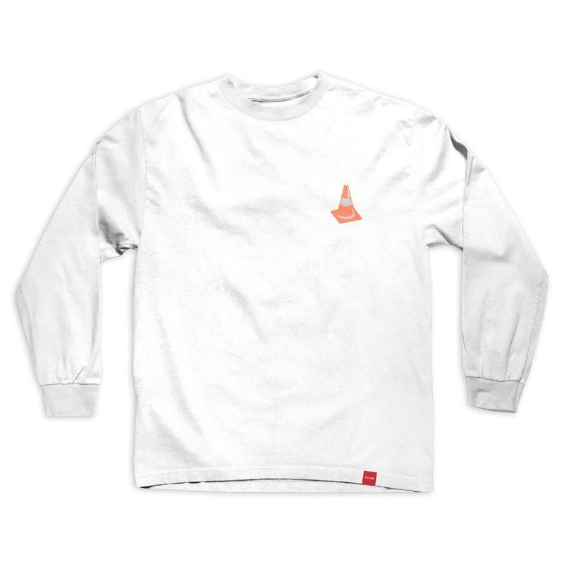 CHOCOLATE SKATEBOARDS SAFETY CONE L/S  TEE WHITE