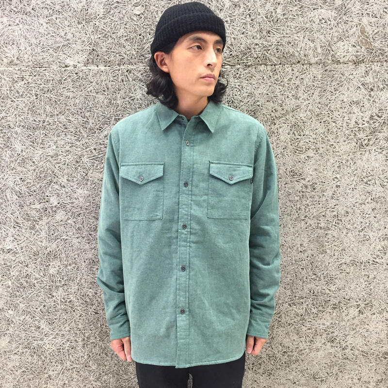 THE QUIET LIFE INSULATOR QUILTED FLANNEL SHIRT TEAL/ORANGE