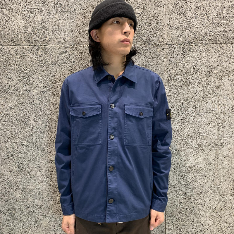 STONE ISLAND GARMENT DYED OVER SHIRT NAVY 12002