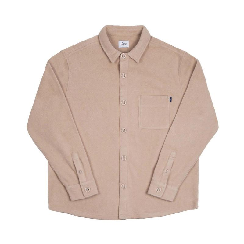 DIME POLAR FLEECE BUTTON UP SHIRT CREAM