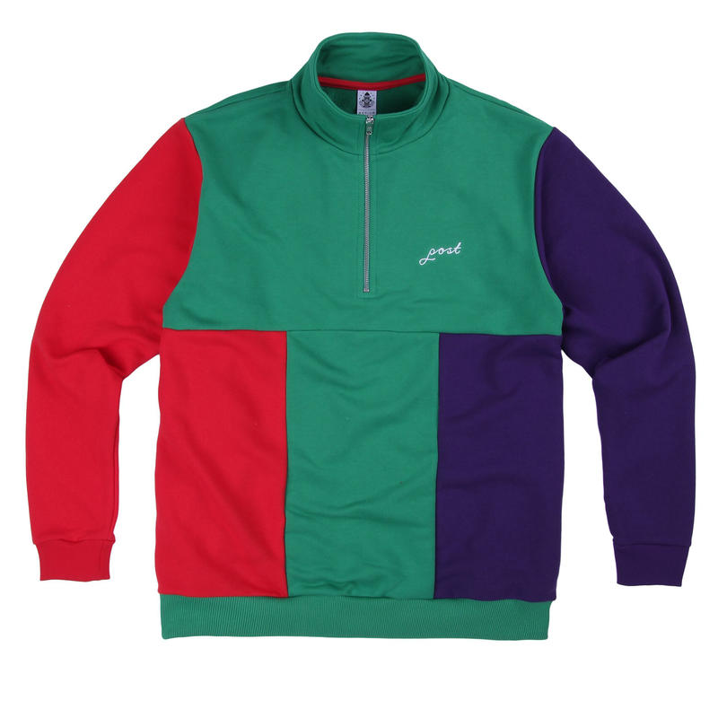 POST DETAIL EMBROIDERY SCRIPT MULTICOLOR HALF ZIP GREEN