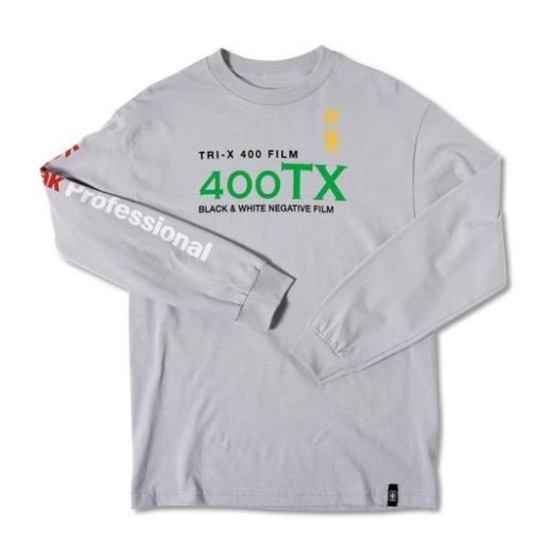 GIRL SKATEBOARDS X KODAK TRI-X LONG SLEEVE TEE SILVER