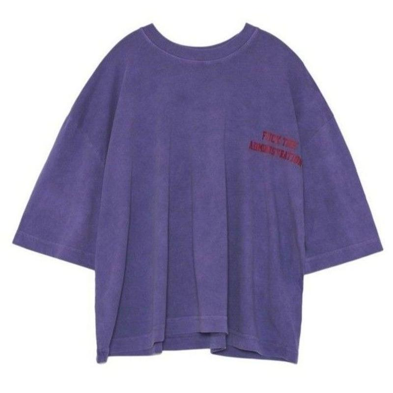 WILLY CHAVARRIA CREW NECK BUFFALO T / LAVENDER W/ FUCK THE ADMINISTRATION PRINT