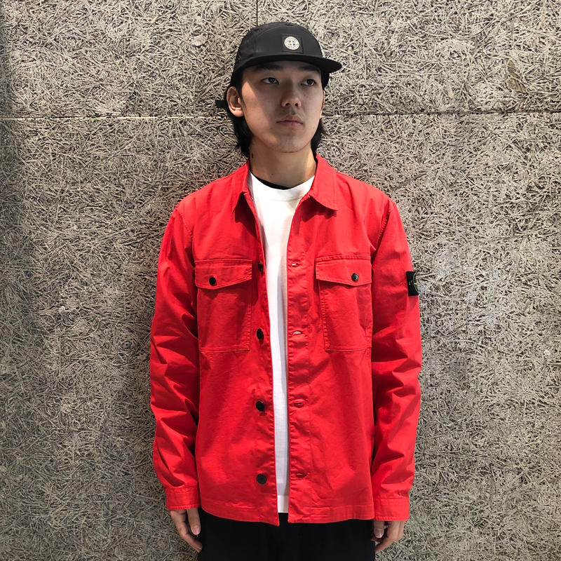 STONE ISLAND GARMENT DYED OVER SHIRT RED 12002
