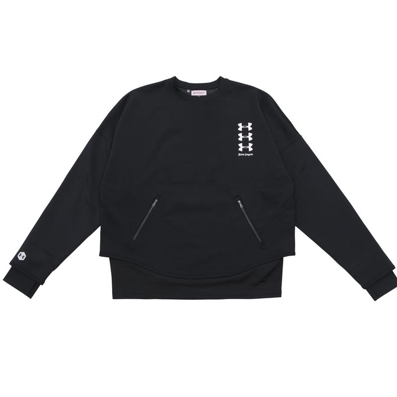PALM  ANGELS  × UNDER ARMOUR LOOSE CREWNECK BLACK