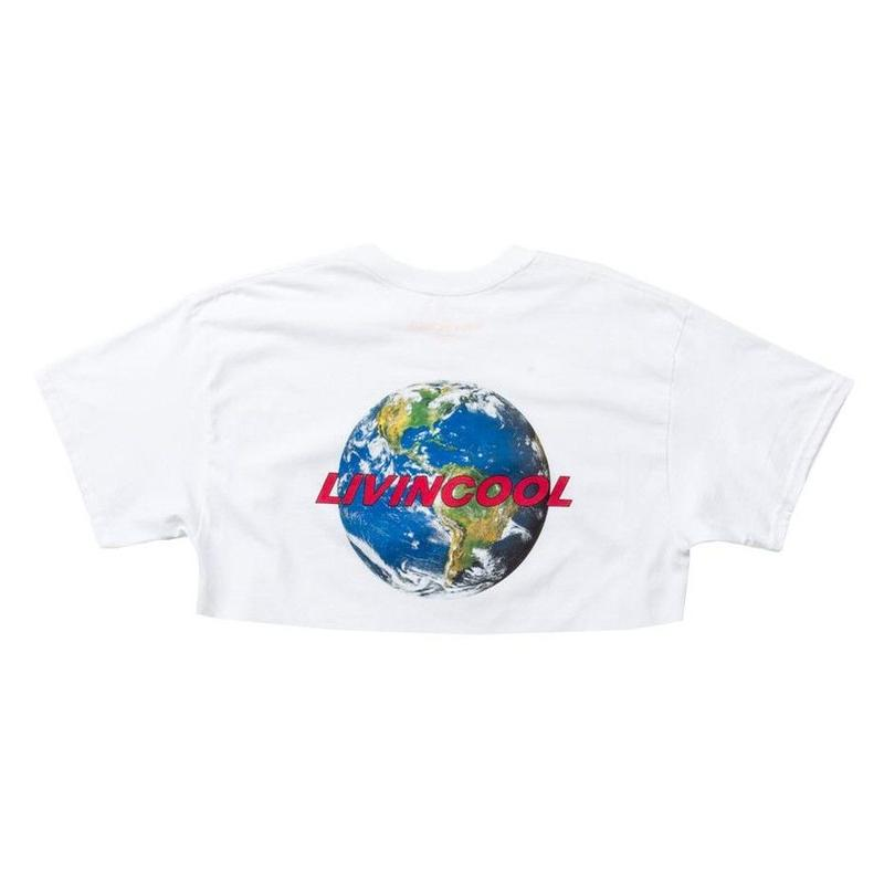 LIVINCOOL WORLD LOGO WHITE CROP TOP