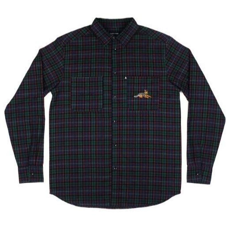 PASS~PORT BEST FRIEND EMBROIDERY FLANNO GREEN / NAVY