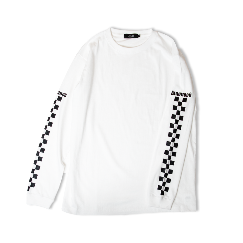 DIASPORA SKATEBOARDS CHECKERED L/S TEE WHITE