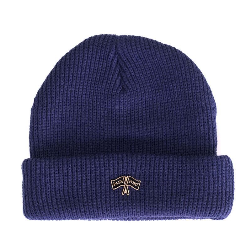 "PASS~PORT ""PP FLAGS"" PIN BEANIE NAVY"