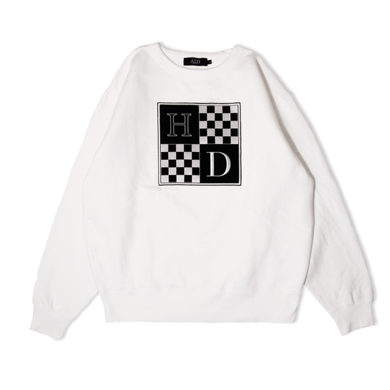 DIASPORA SKATEBOARDS CHECKERED CREW NECK WHITE