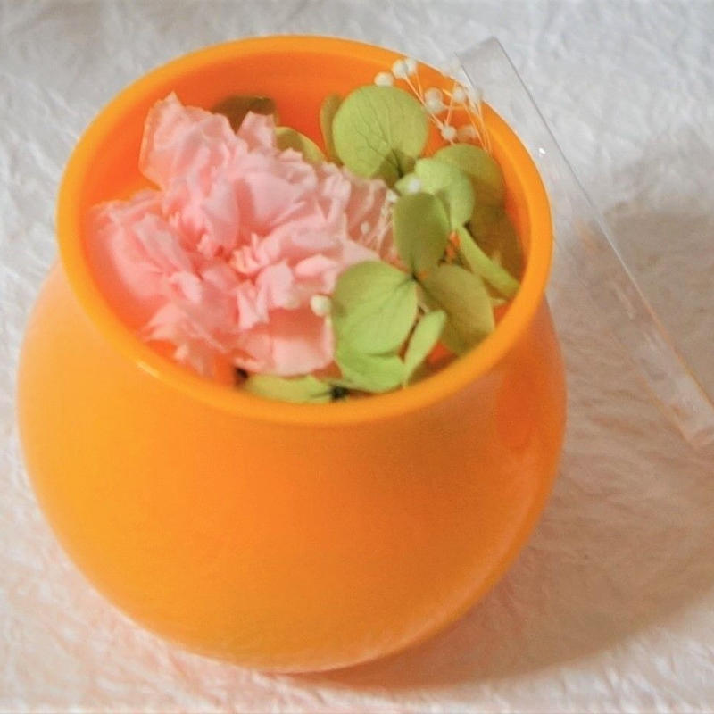 プリザーブドフラワー・プチ オレンジカップ(蓋付き)