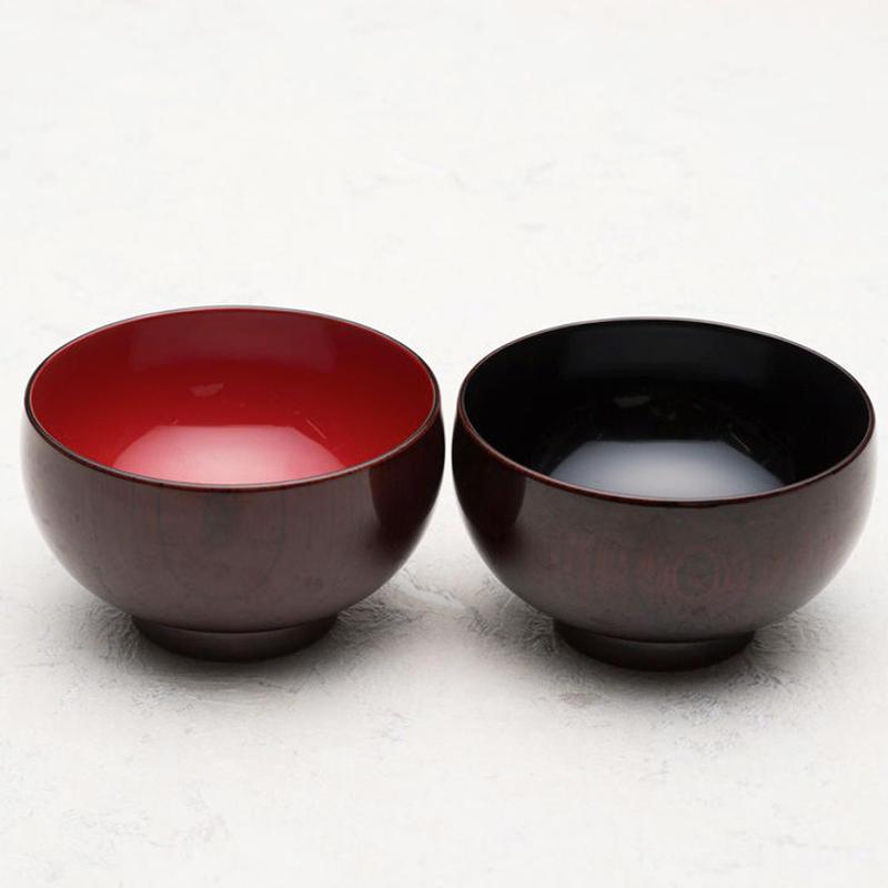 木製 本欅汁椀 布袋型 木地呂漆塗(内朱・内黒 有)
