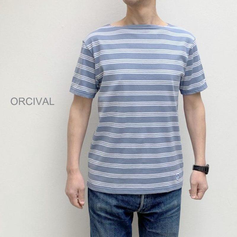 【メンズ】Orcival(オーシバル) ボートネック 3stボーダー半袖Tシャツ  RC-6774-3STRIPE