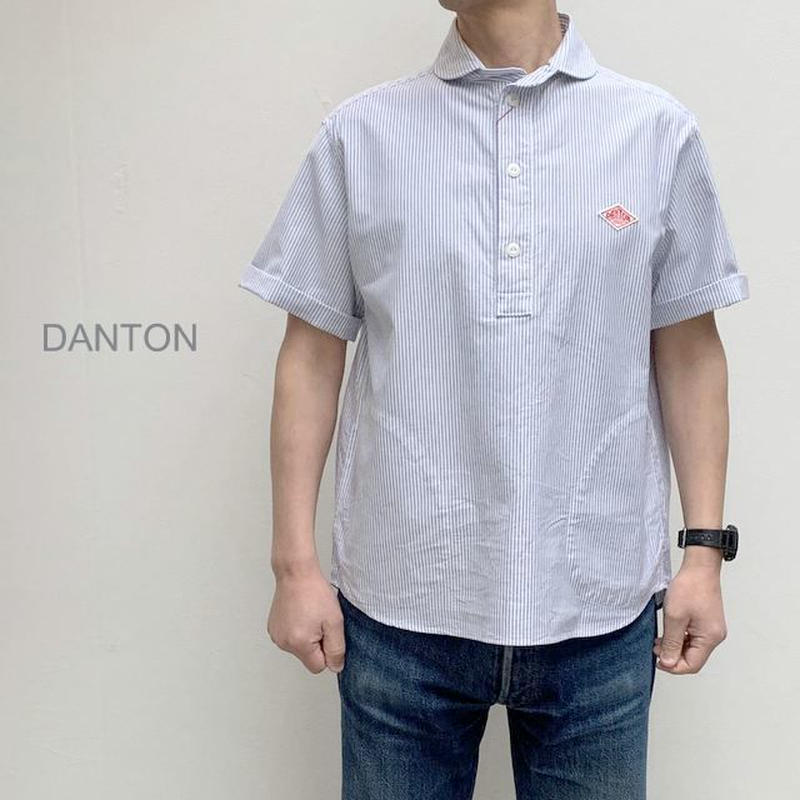 【メンズ】DANTON(ダントン)丸襟ポケット付 コットンストライプ 半袖プルオーバーシャツ