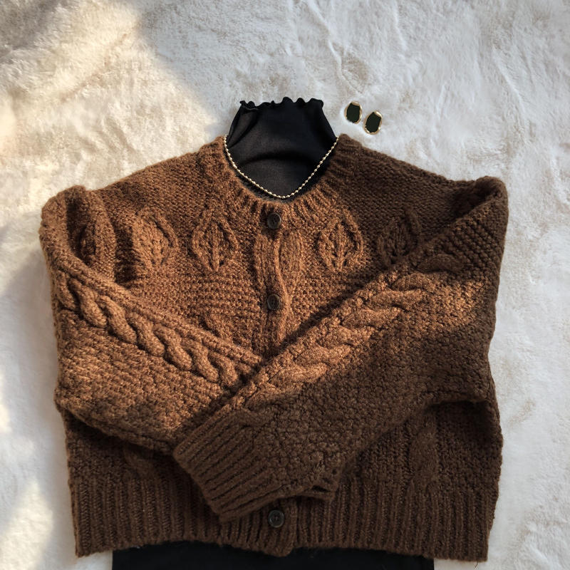 brown cable cardigan